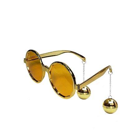 Óculos de Plástico Disco Club Gold - 1 Unidade