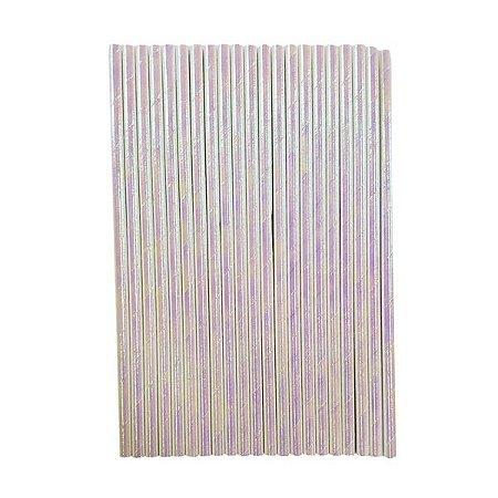Canudo Papel Furta-cor Branco - Embalagem com 12 unidades