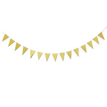 Bandeirola de Papel Dourada Glitter - 1 Unidade