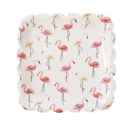 Prato Papel Quadrado Flamingo - Embalagem com 8 Peças
