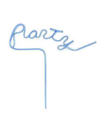 Canudo de Plástico Dash Party Azul  - Embalagem com 6 peças