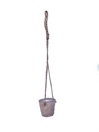 VASO DE JUTA COM MACRAME NATURAL - 11.5x11.5cm