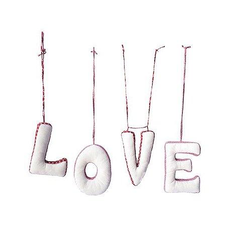 ALMOFADA APLIQUE LOVE VERMELHO E PINK - 25x17cm cada letra