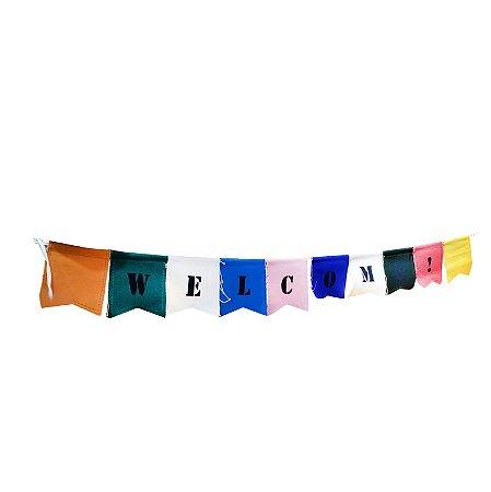 BANDEIROLA DE TECIDO WELCOME - cordão com 10 pçs - cada triangulo 10 x 9.5 cm