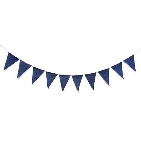 BANDEIROLA JUTA THINK BLUE - 2.4 M - cordão com 10 pçs - cada triangulo 19 x 12 c
