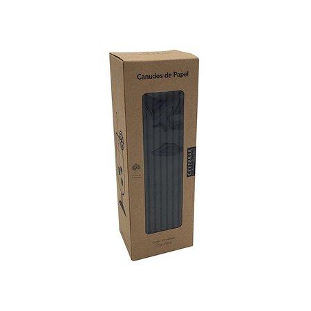 CANUDO DE PAPEL RIGIDO PRETO - 19.5 cm - caixa com 100 pçs