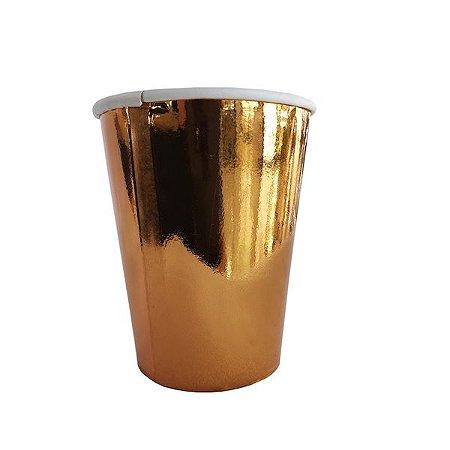COPO DE PAPEL ROSE GOLD 8.5cm 8pcs