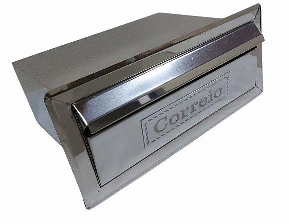 Caixa de correio em aço inox Com Aba (Cabe Revistas e Jornais)
