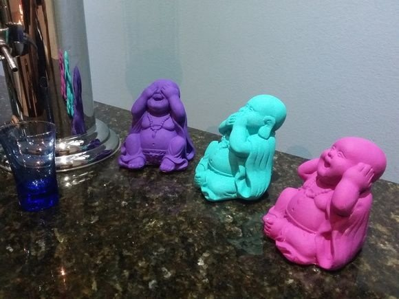 Mini Budas Sábios Violeta, Turquesa e Rosa