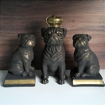 Trio de Pugs Dourados - Pug Coroa + Pug Aparador