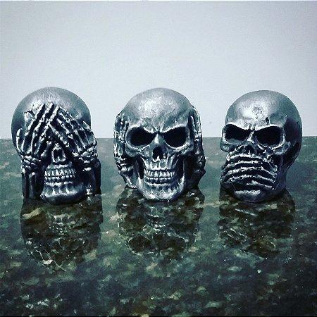 Mini Caveiras Sábias Prata (trio)