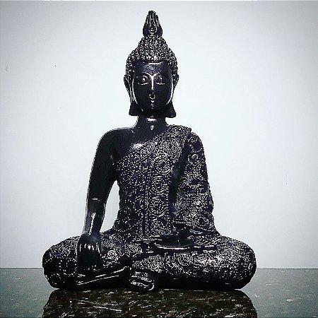Big Buda Bhumisparsha Mudra Black Piano