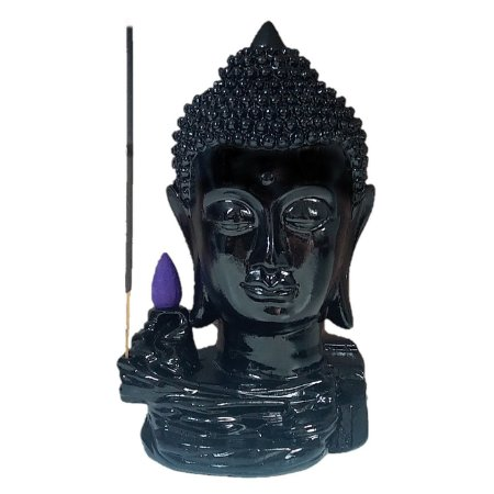 Incensário Cascata de Fumaça Budha Head Black + 50 Cápsulas