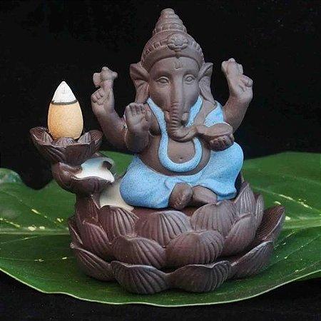 Incensário Cascata Ganesha Baby Azul