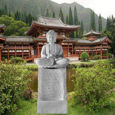 Fonte para Jardim Buda Pilar Marmorite 90cm 220v