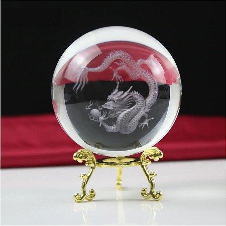 Esfera de Cristal Dragão 3D Laser 6 Cm