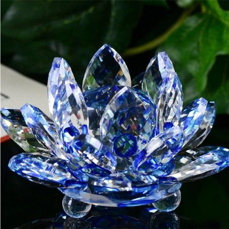 Mini Flor de Lótus de Cristal Cor Azul 6cm