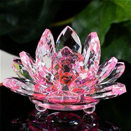 Mini Flor de Lótus de Cristal Cor Quartzo Rosa 6cm