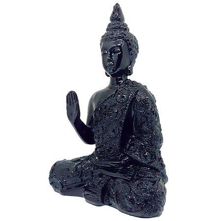 Escultura Buda Abhaya Mudra Black Piano