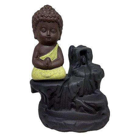 Incensário Cascata Buda Baby Amarelo + 25 Cones Backflow