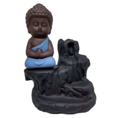 Incensário Cascata Buda Baby Azul + 25 Cones Backflow