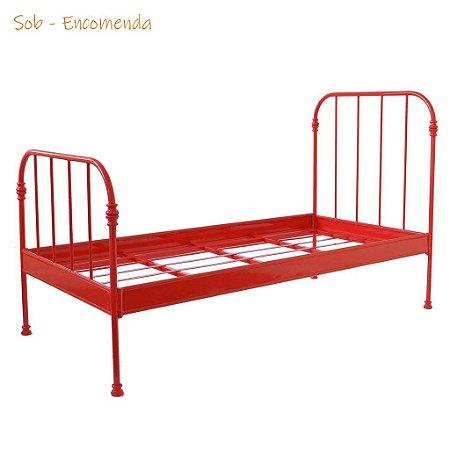 Cama de Solteiro de Ferro Vermelha Baronesa