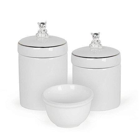 Kit Higiene Urso Prata e Branco