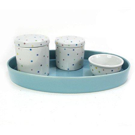 Kit Higiene Poá com Bandeja Azul