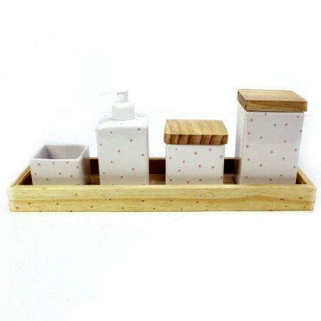 Kit Higiene Poá Rosa com Bandeja Pinus