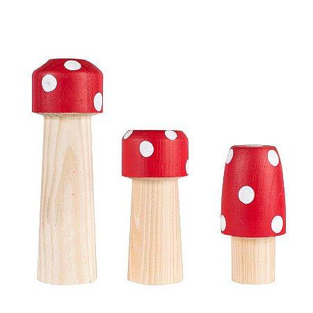 Trio de Cogumelos Vermelho