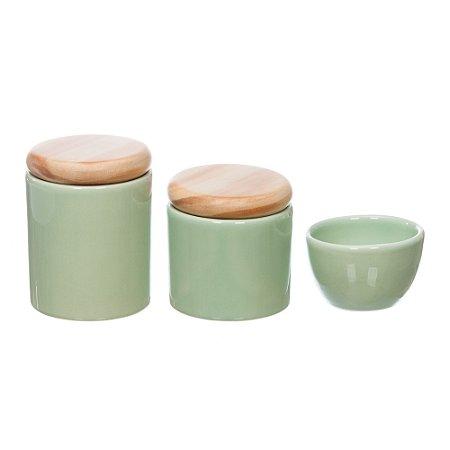 Kit Higiene Verde Menta com Tampa Pinus sem Bandeja - 03 Peças