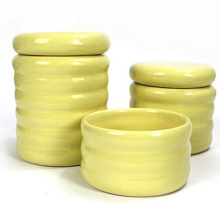 Kit Higiene Ondulado Amarelo sem Bandeja - 03 Peças