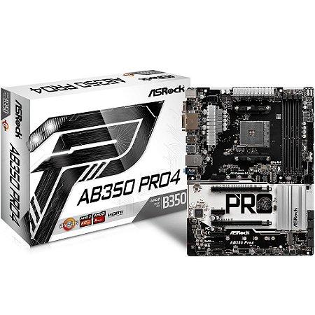 Placa-Mãe ASRock AMD AM4 AB350 Pro4 DDR4