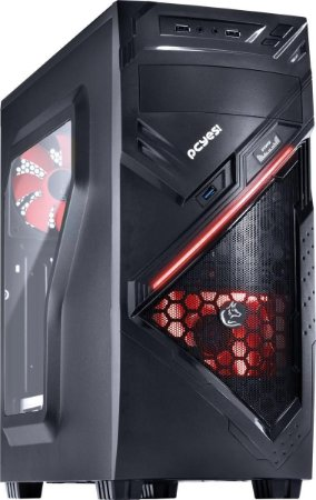 Gabinete PcYes Mid Tower Chacal Vermelho Lateral em Acrílico 24559