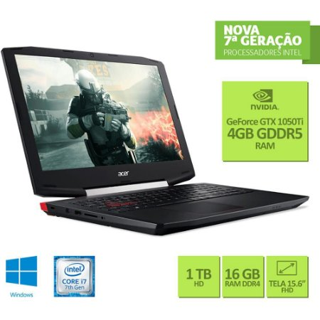 Notebook Gamer Acer - Intel Core I7 7700hq, Nvidia Geforce Gtx 1050ti 4gb, 16gb Ddr4, Hd 1tb, Tela 15.6 Full Hd, Windows 10 - Vx5-591g-78bf