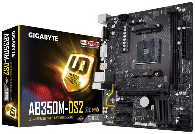 Placa-Mãe GIGABYTE AMD AM4 mATX GA-AB350M-DS2 DDR4