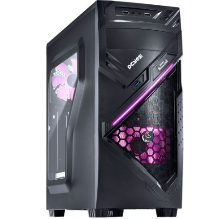Gabinete PcYes Mid Tower Chacal Rosa Lateral em Acrílico 24564