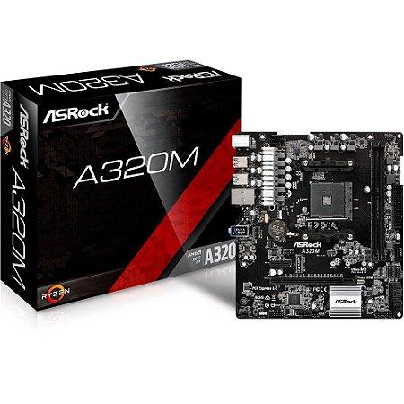 Placa-Mãe ASRock AMD AM4 mATX A320M DDR4