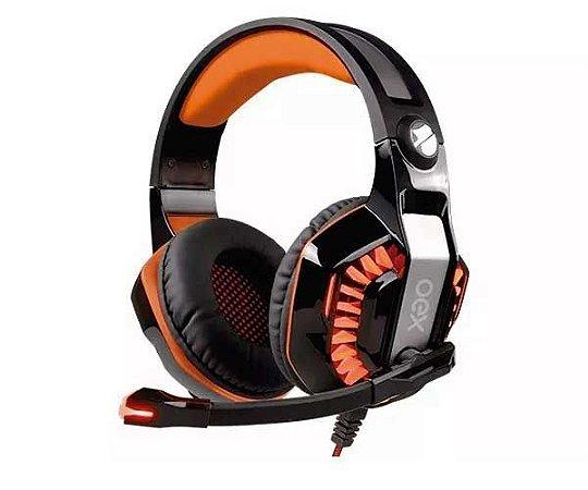 Headset Gamer Oex Beast 7.1 Virtual Surround USB Preto/Laranja - HS-404
