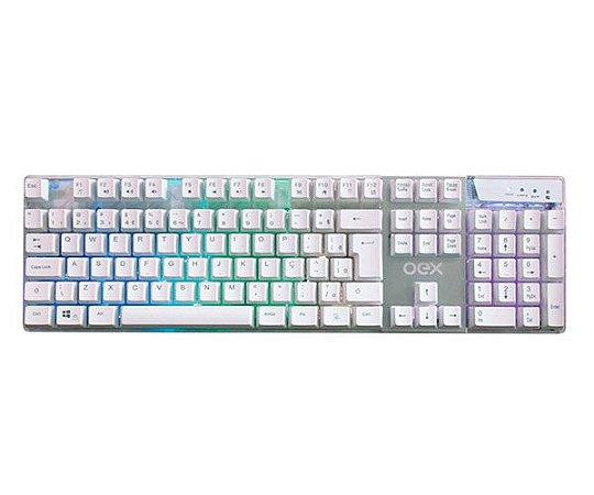Teclado Gamer Oex Semi Mecânico Prismatic Branco Com LED Multicolor e Comando de Voz - TC205