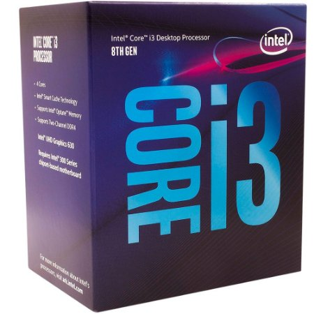 Processador Intel i3-8100 Coffee Lake 8a Geração, Cache 6MB, 3.6GHz, LGA 1151 Intel UHD Graphics 630 - BX80684I38100