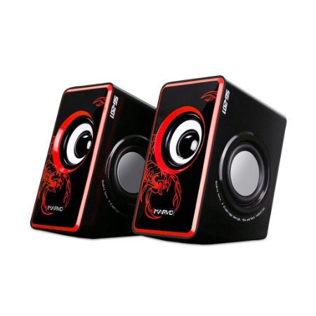 Caixa De Som Gamer Marvo Scorpion SG-201 RD 3.5W X 2 Bk/Red
