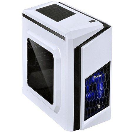 Gabinete Gamer PCYES mid-tower White Dwarf com 2 fans LED Azul Lateral em acrílico – DWABCOPT2FCA