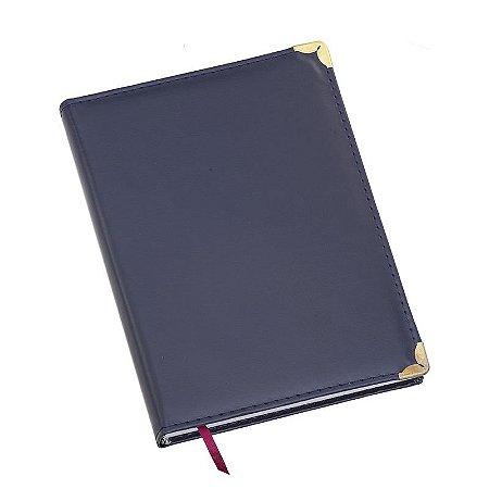 LG101 Agenda Diária Capa de Couro Sintético Azul Marinho Lisa