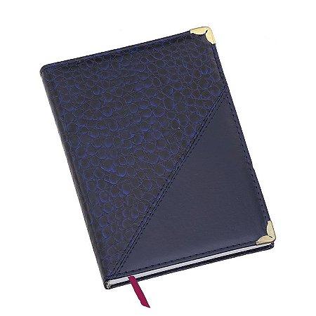 LG111 Agenda diária capa de couro sintético Azul Marinho Croco diagonal