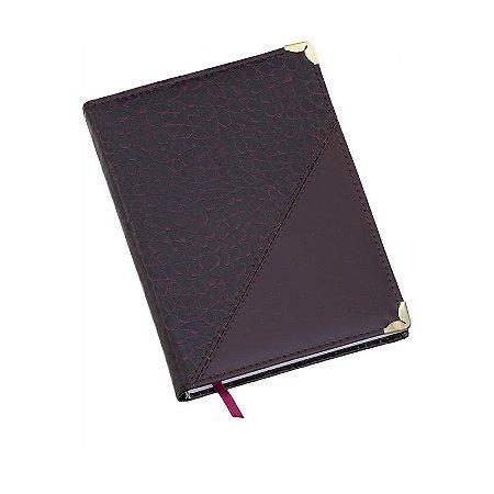 LG112 Agenda diária capa de couro sintético Vinho Croco diagonal