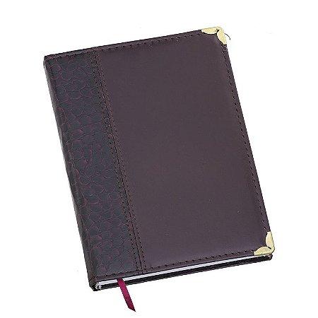 LG122 Agenda diária capa de couro sintético Vinho Croco lateral