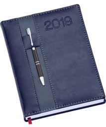 LG134 Agenda Diária capa de couro sintético com porta caneta azul royal