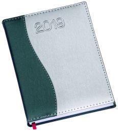 """LG152 Agenda Diária capa de couro sintético detalhe """"S"""" em verde"""