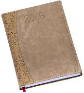 LG173 Agenda Diária capa em couro sintético bege e areia